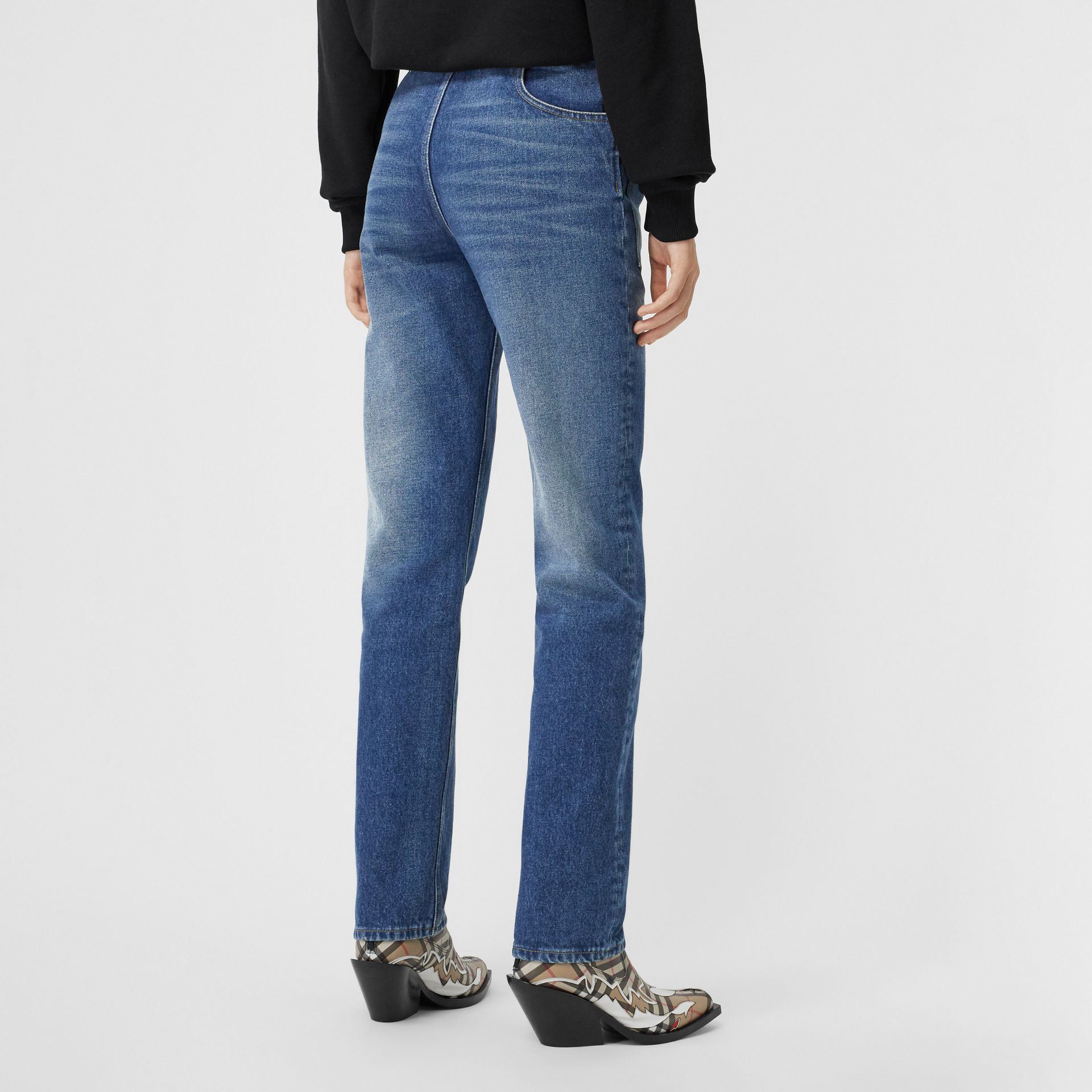 Straight Fit Logo Detail Reconstructed Jeans in Indigo - Women | Burberry United Kingdom - gallery image 2