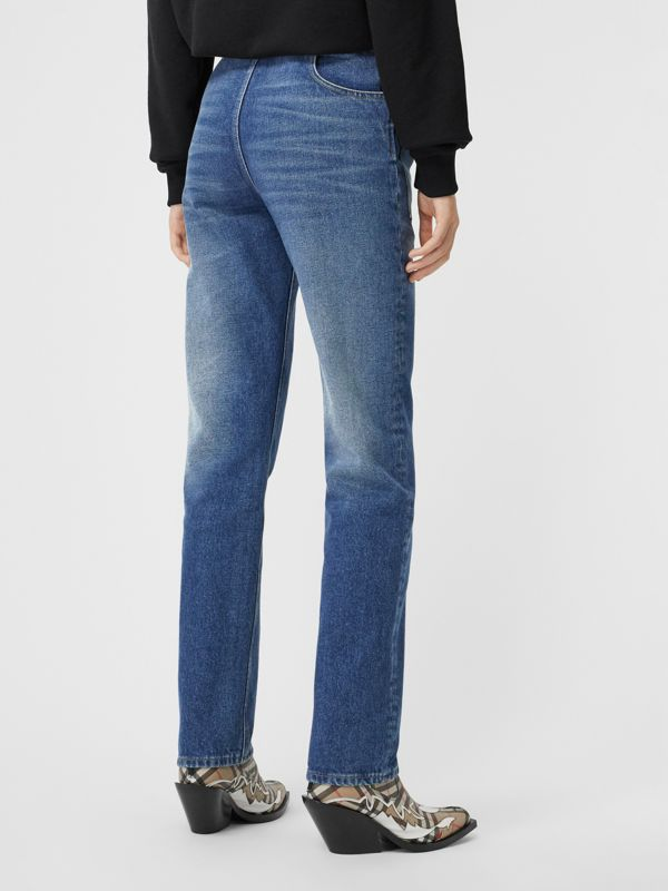 Straight Fit Logo Detail Reconstructed Jeans in Indigo - Women | Burberry - cell image 2