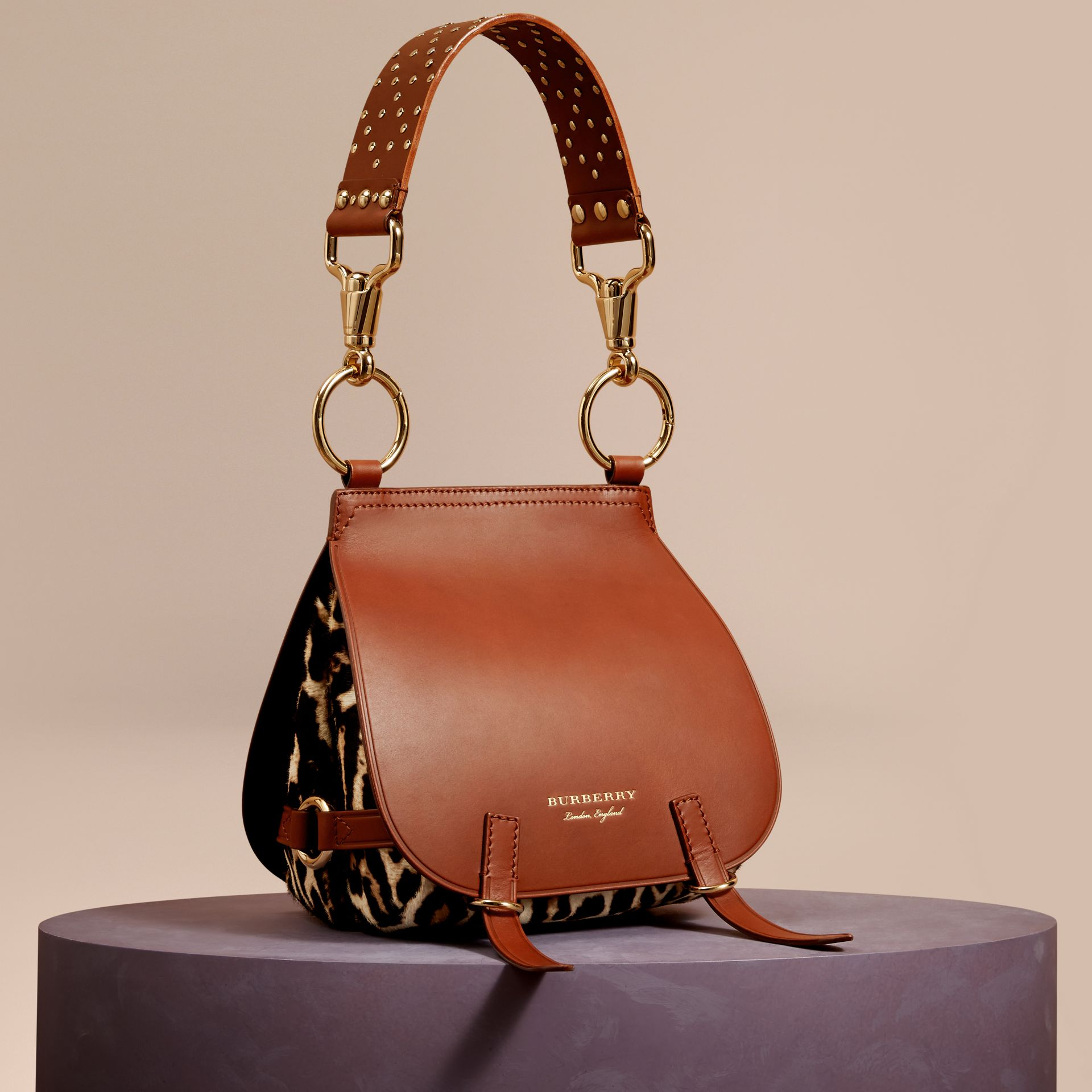 The Bridle Bag in Leopard-print Calfskin and Leather in Tan - Women | Burberry - gallery image 0