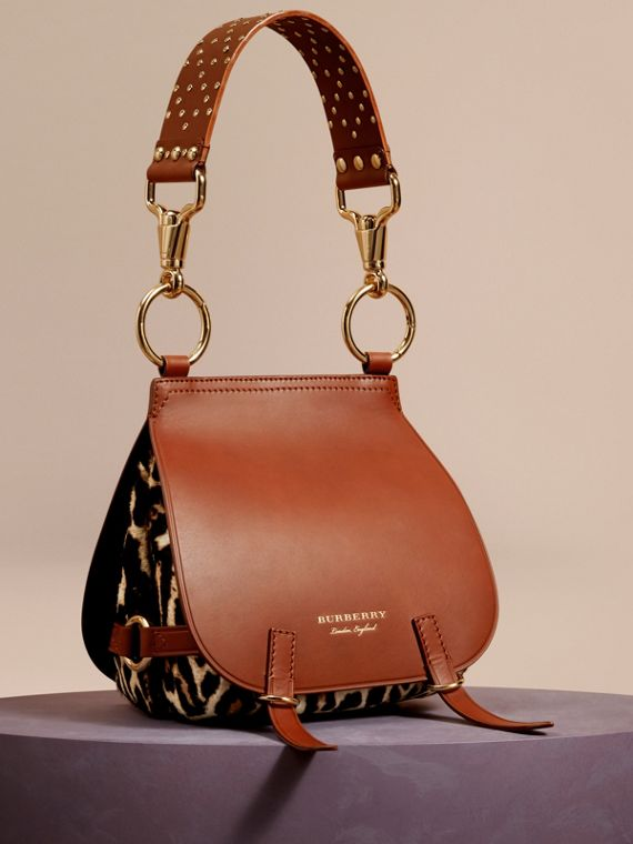 Borsa The Bridle in cavallino con stampa leopardata e pelle - Donna | Burberry