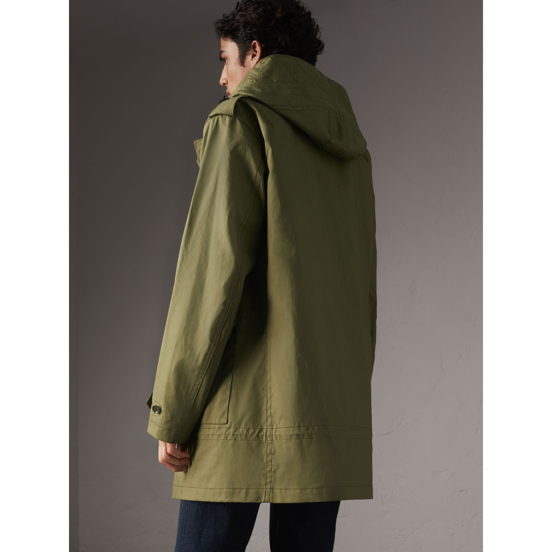 Bonded Cotton Parka with Detachable Warmer in Khaki Green - Men | Burberry - gallery image 3