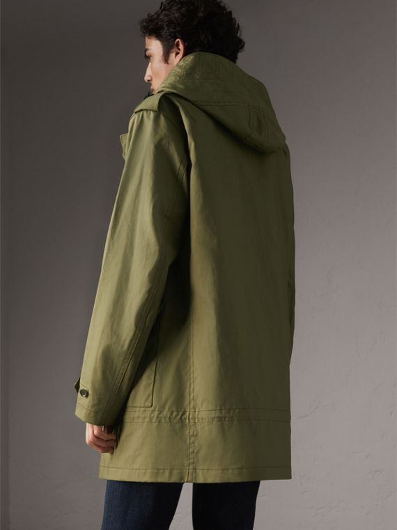 Bonded Cotton Parka with Detachable Warmer in Khaki Green - Men | Burberry - cell image 2