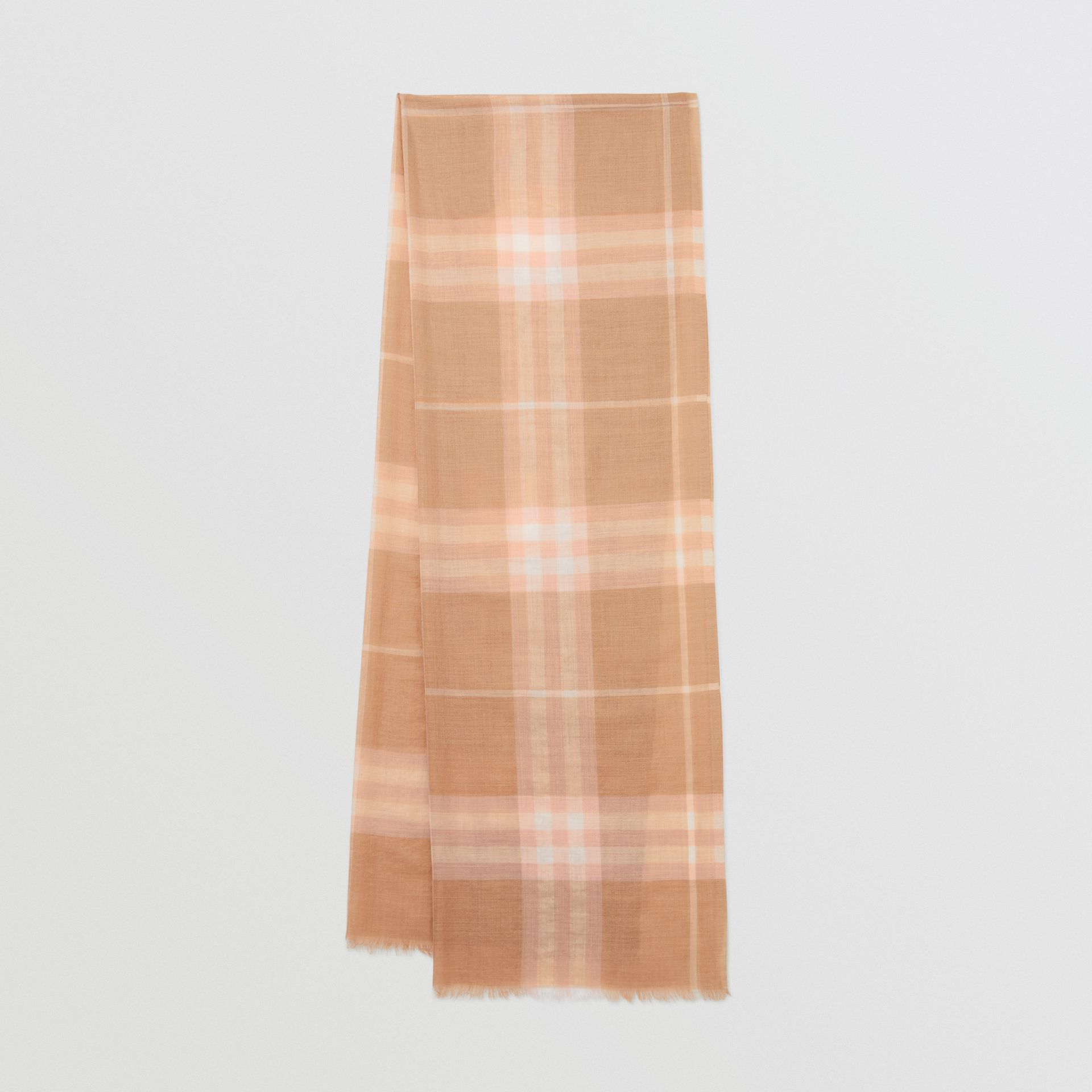 Lightweight Check Wool and Silk Scarf in Fawn | Burberry - gallery image 0