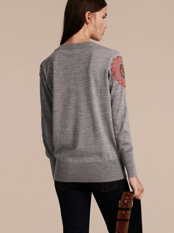 Mid grey melange Floral Embellished Merino Wool V-neck Sweater - cell image 2