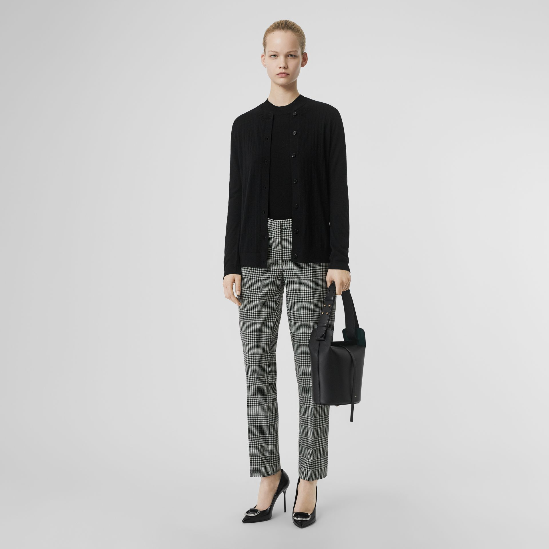Rib Knit Cashmere Cardigan in Black - Women | Burberry - gallery image 0