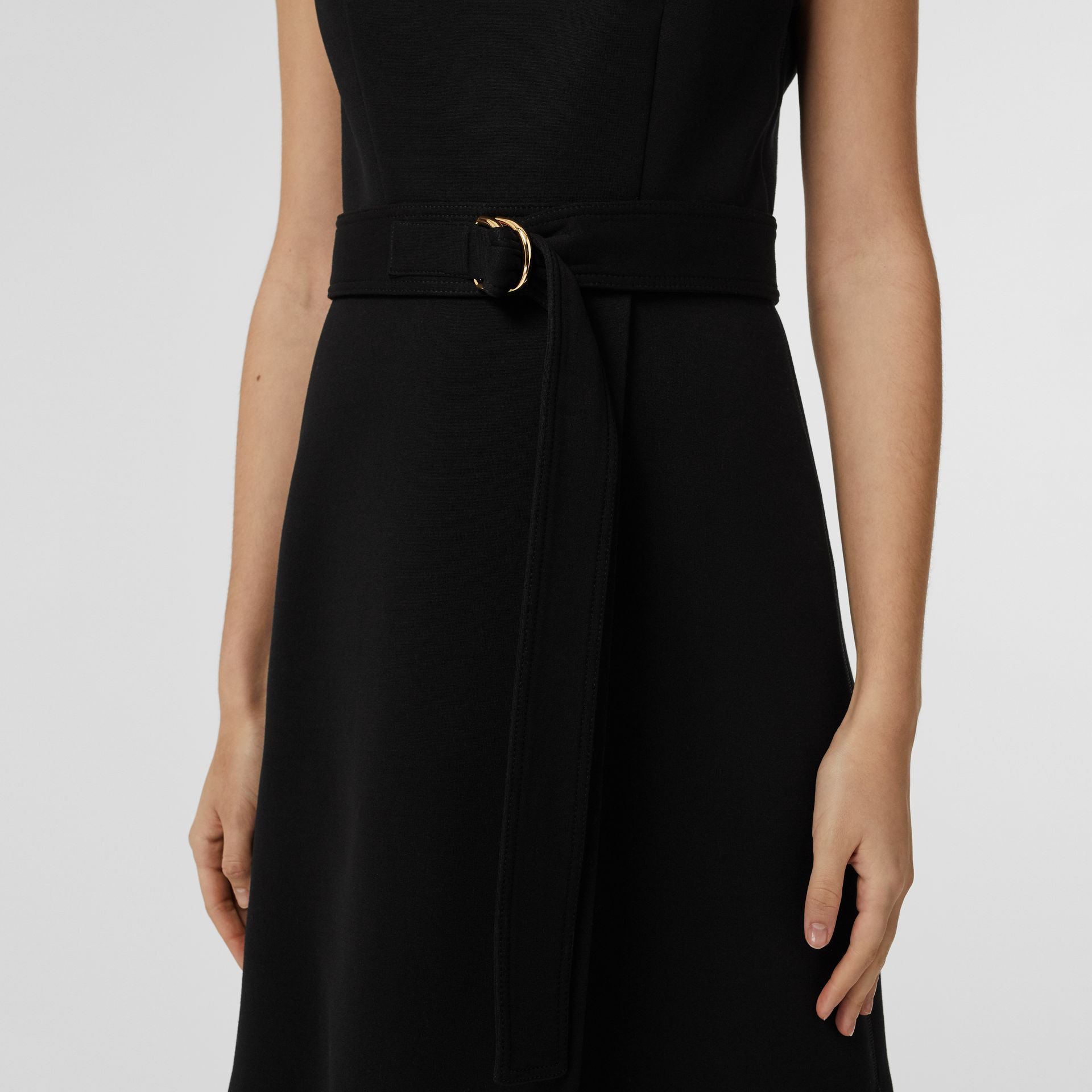 D-ring Detail Bonded Jersey Dress in Black - Women | Burberry - gallery image 4