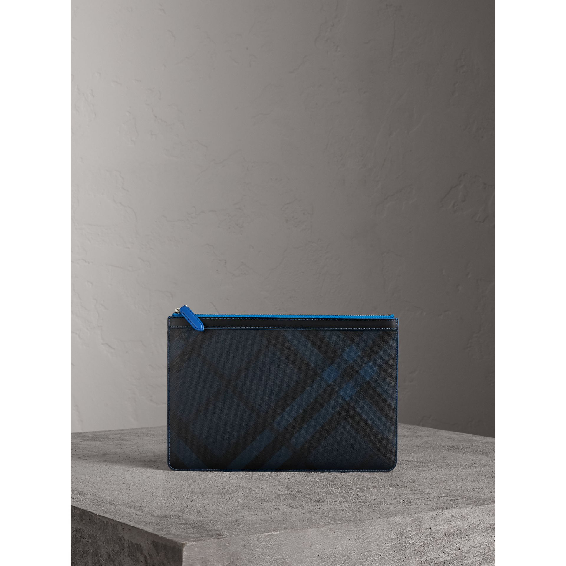 Zip-top London Check Pouch in Navy/blue - Men | Burberry - gallery image 0