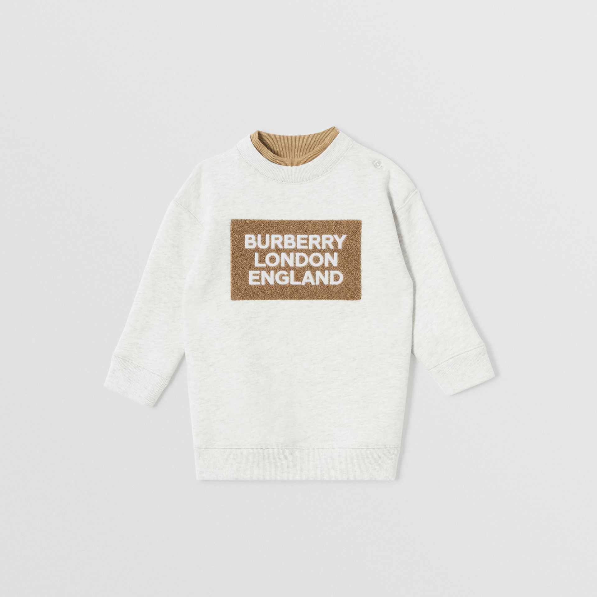 Logo Detail Jersey Sweater Dress in White Melange - Children | Burberry - gallery image 0