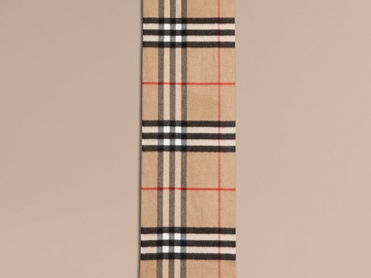 The Classic Cashmere Scarf in Check with Sequined Heart in Camel/red - cell image 1