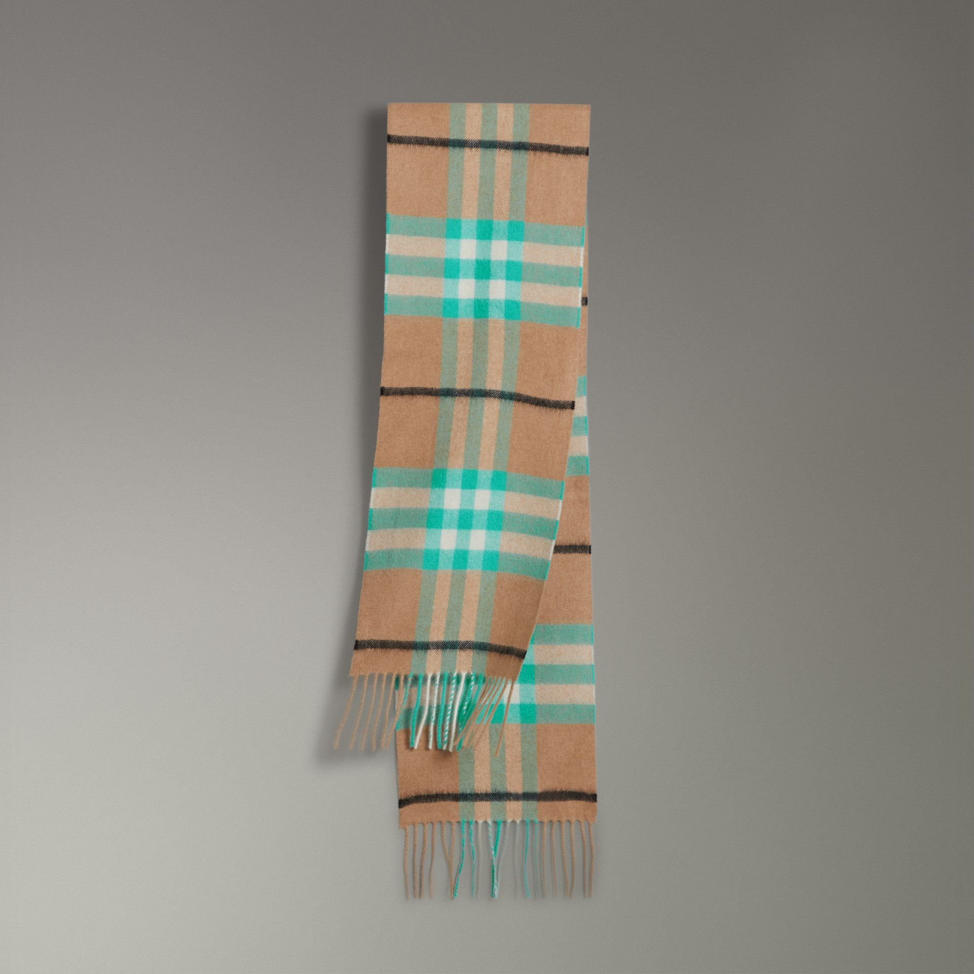 The Mini Classic Check Cashmere Scarf in Bright Aqua | Burberry - gallery image 0