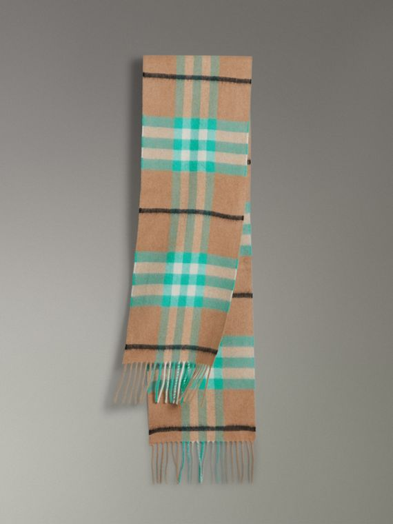 The Mini Classic Check Cashmere Scarf in Bright Aqua