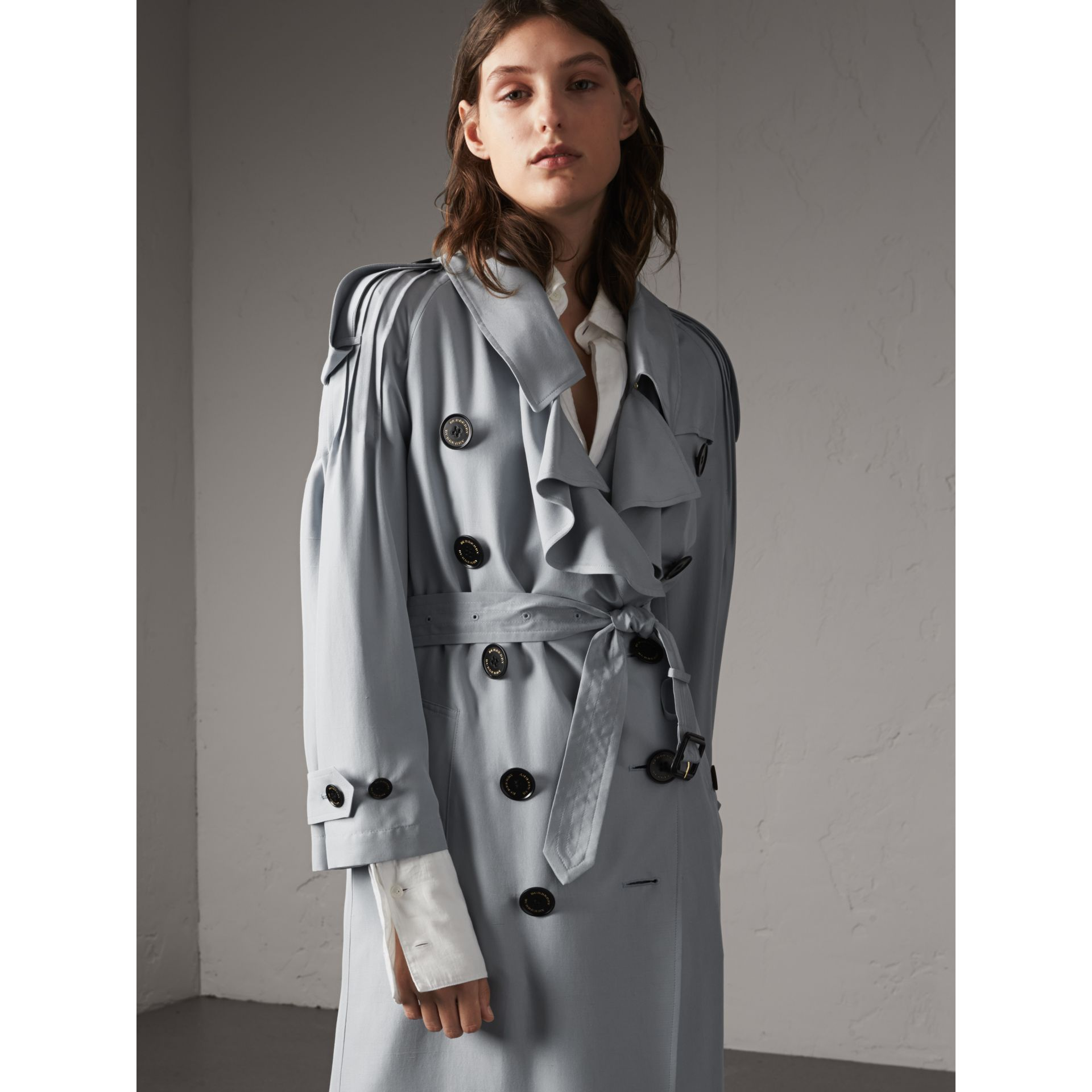 Ruffle Detail Silk Trench Coat in Pale Slate Blue - Women | Burberry Canada - gallery image 6