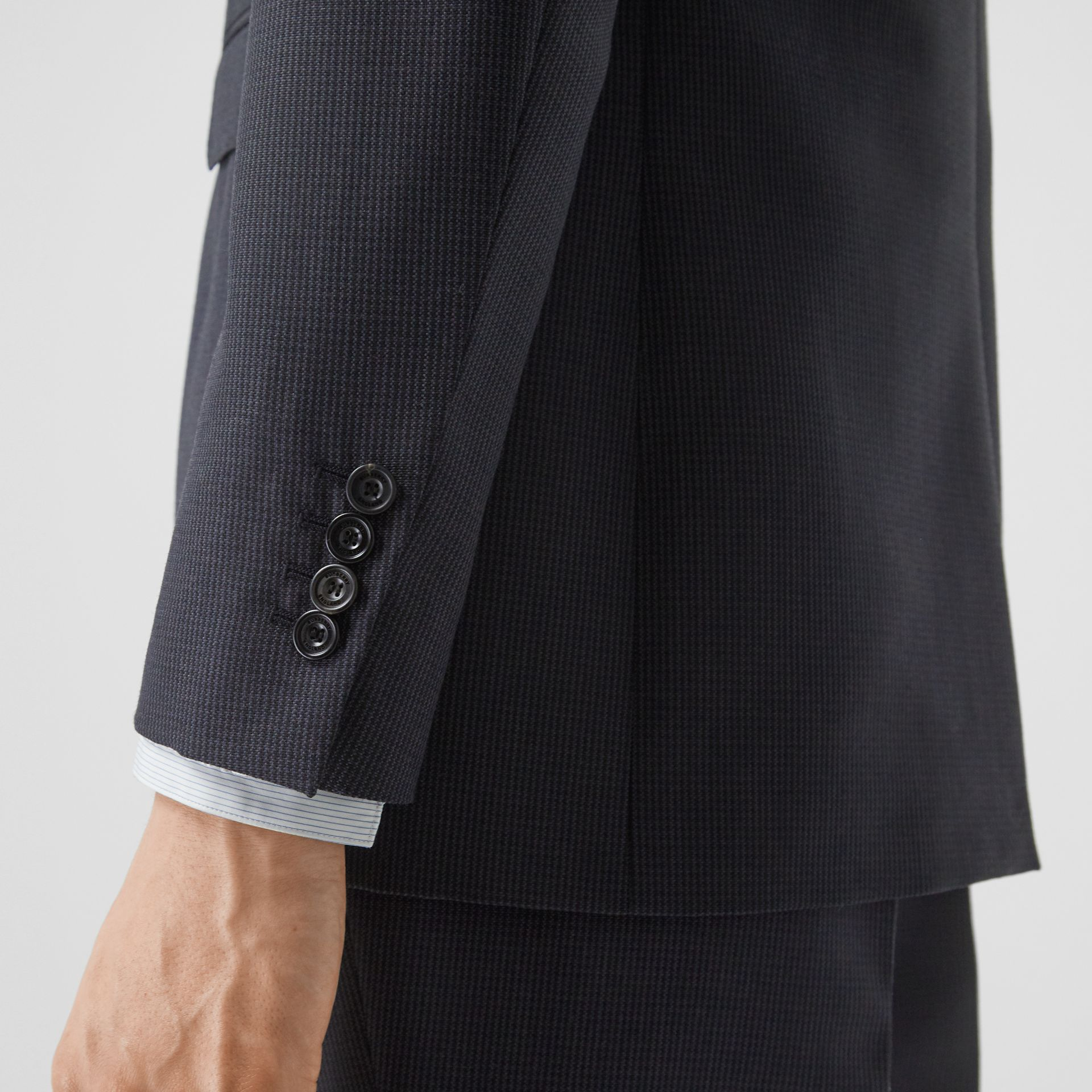 Classic Fit Puppytooth Check Wool Mohair Suit in Navy - Men | Burberry - gallery image 4