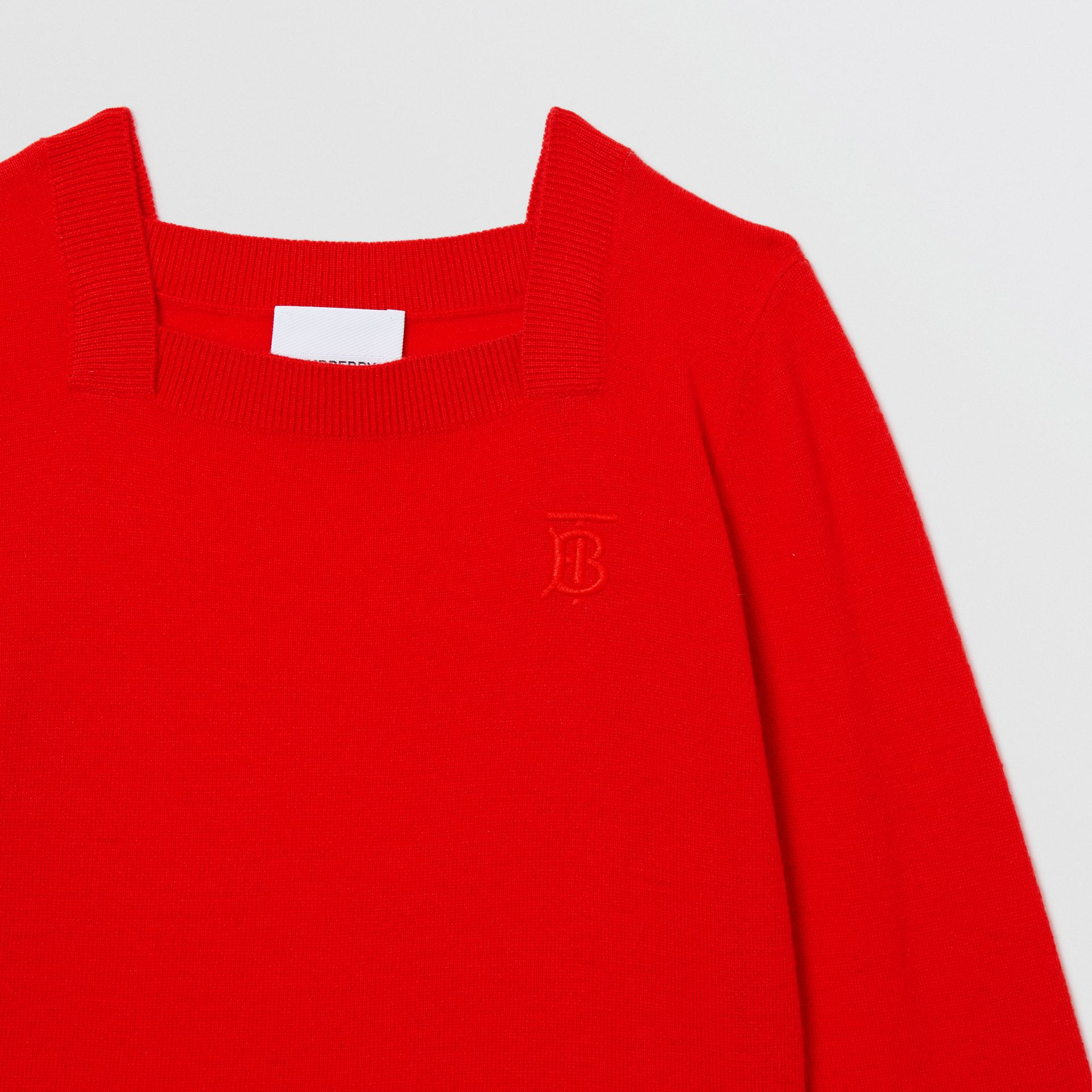 Monogram Motif Cashmere Sweater in Bright Red | Burberry - gallery image 5