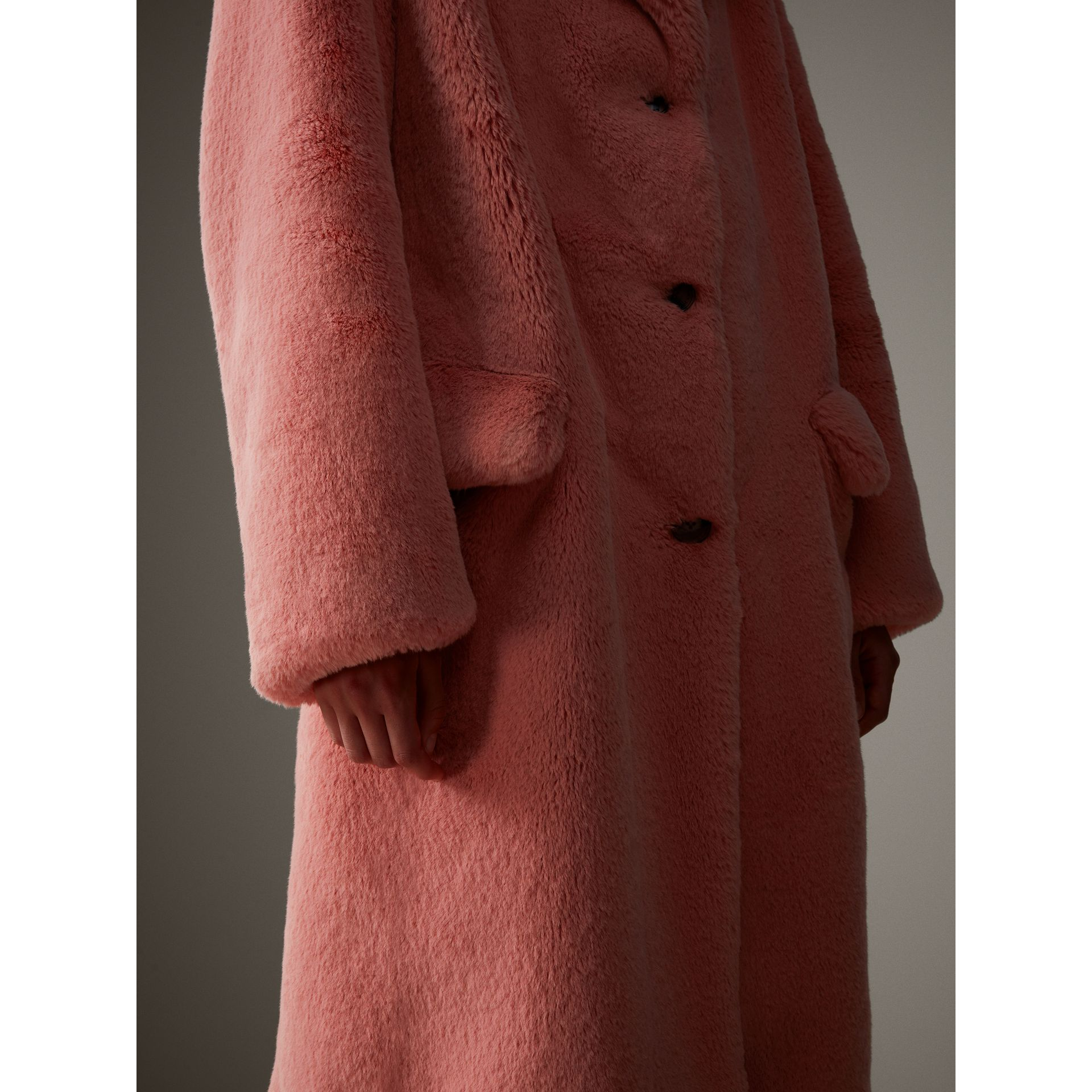 Faux Fur Single-breasted Coat in Pale Pink - Women | Burberry - gallery image 5