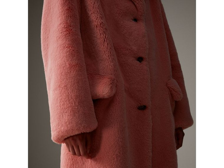 Faux Fur Single-breasted Coat in Pale Pink - Women | Burberry - cell image 4