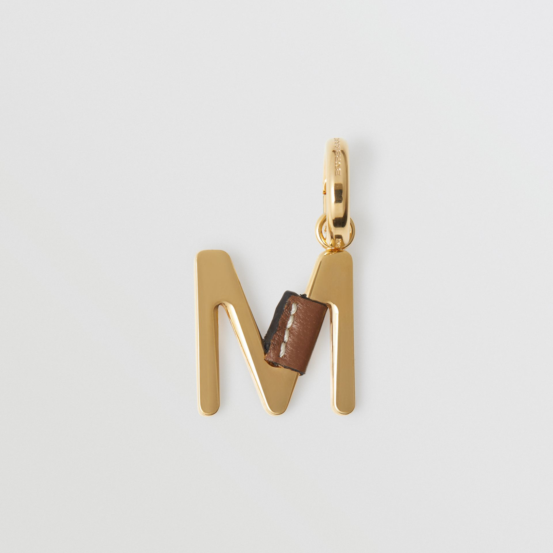 Leather-wrapped 'M' Alphabet Charm in Light Gold/tan - Women | Burberry - gallery image 4