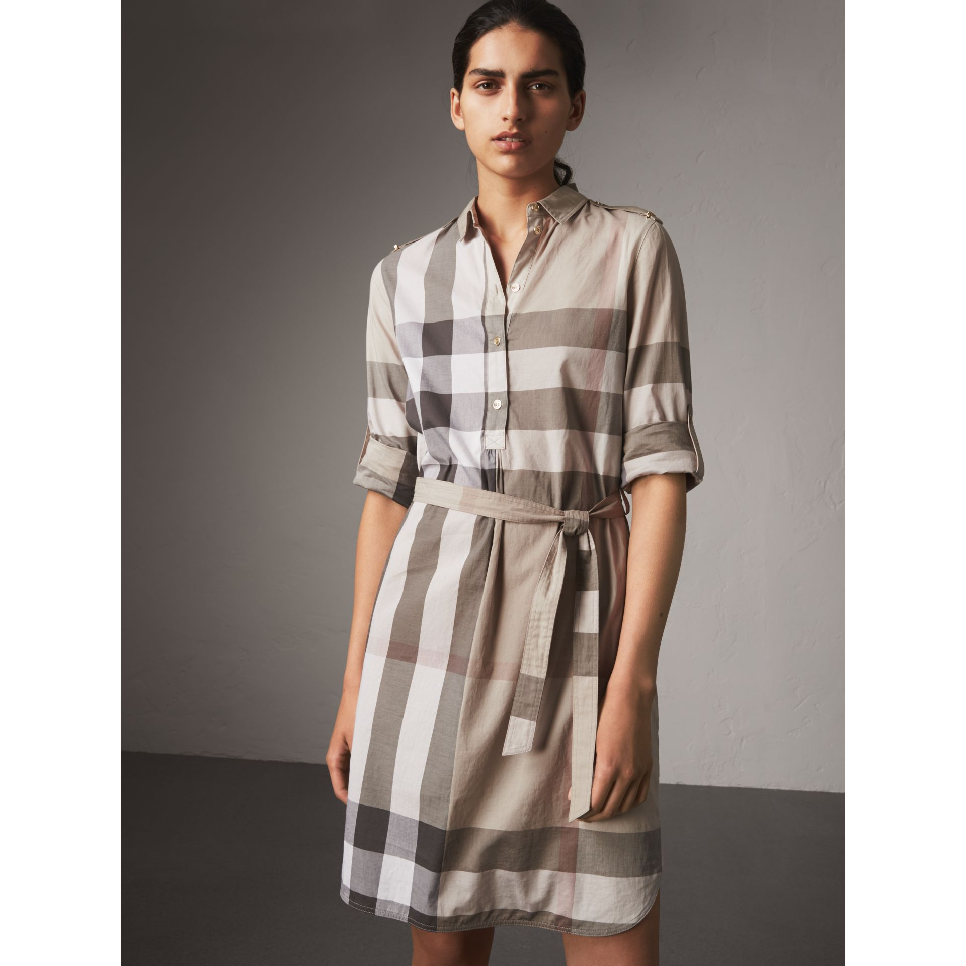 Check Cotton Shirt Dress in Pale Stone - Women | Burberry - gallery image 5