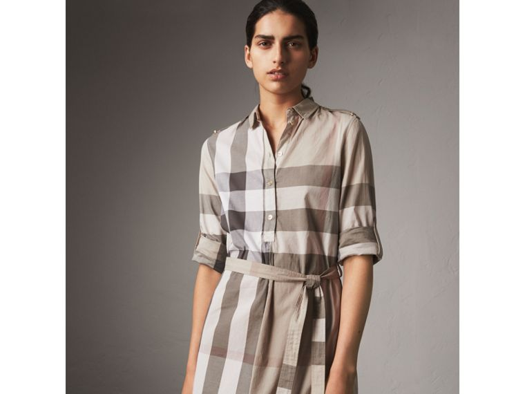 Check Cotton Shirt Dress in Pale Stone - Women | Burberry - cell image 4