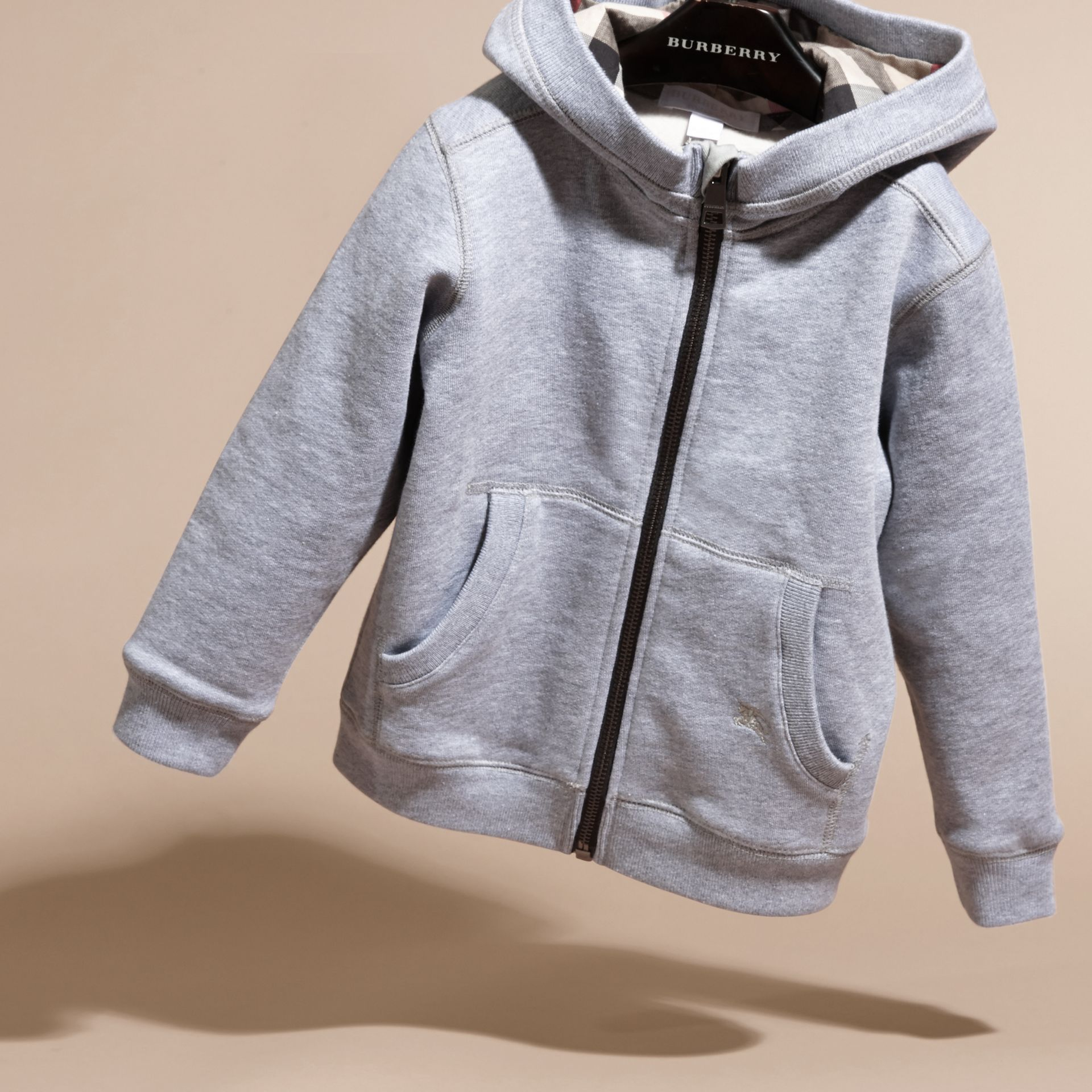 Mid grey melange Hooded Cotton Top Mid Grey Melange - gallery image 3