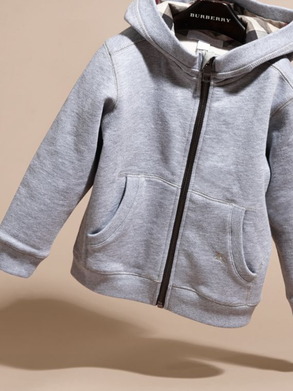 Mid grey melange Hooded Cotton Top Mid Grey Melange - cell image 2
