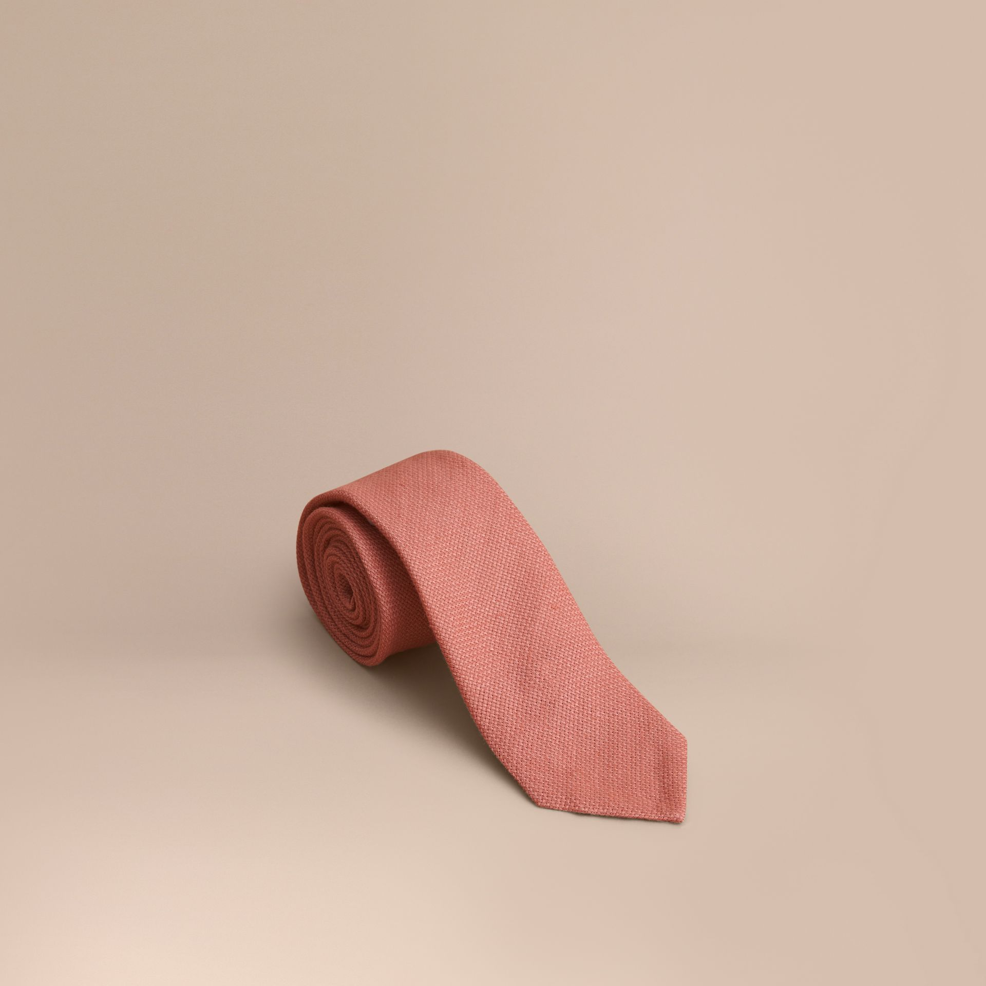 Modern Cut Linen Tie in Pale Cinnamon - Men | Burberry Hong Kong - gallery image 1