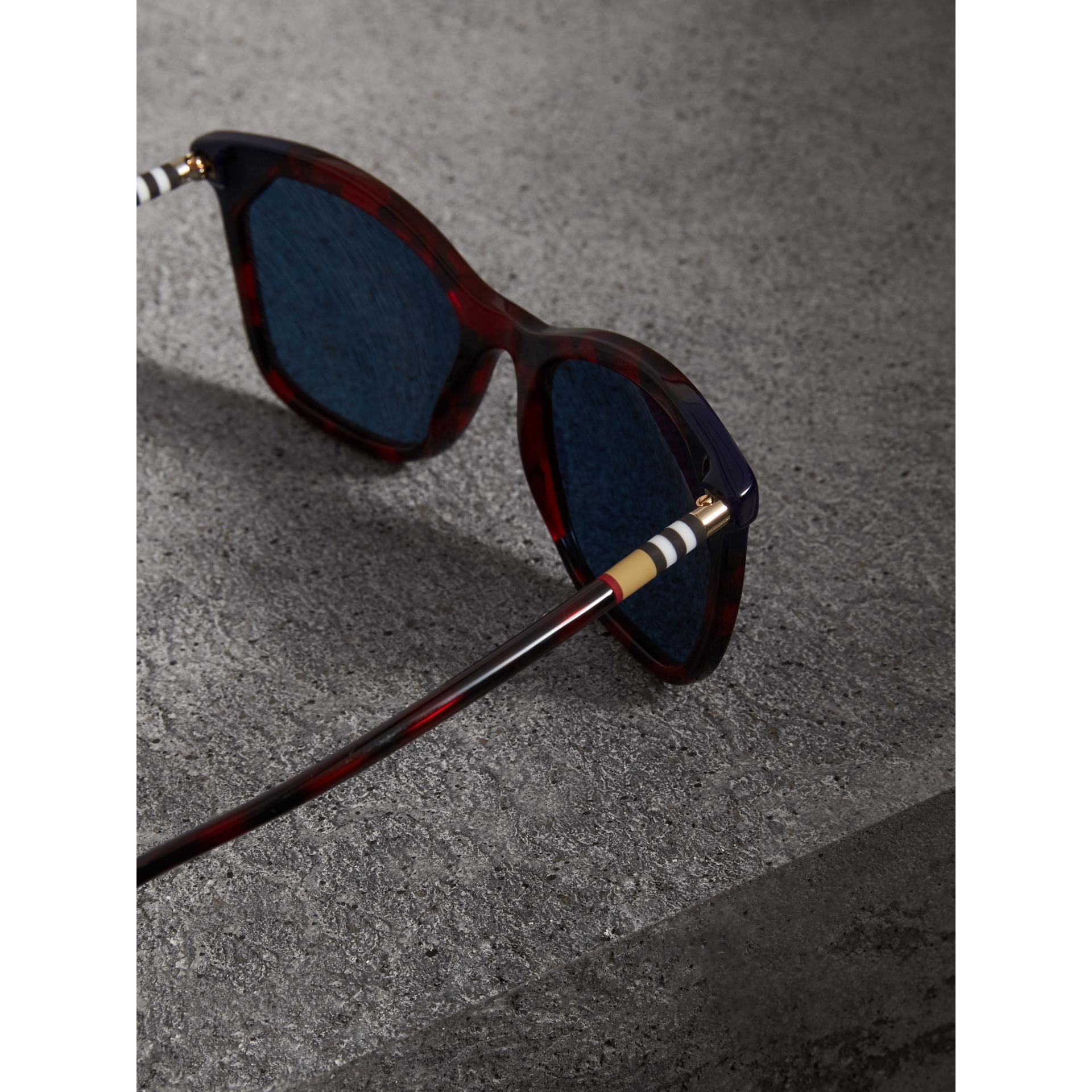 Tortoiseshell Square Frame Sunglasses in Red - Women | Burberry Australia - gallery image 1