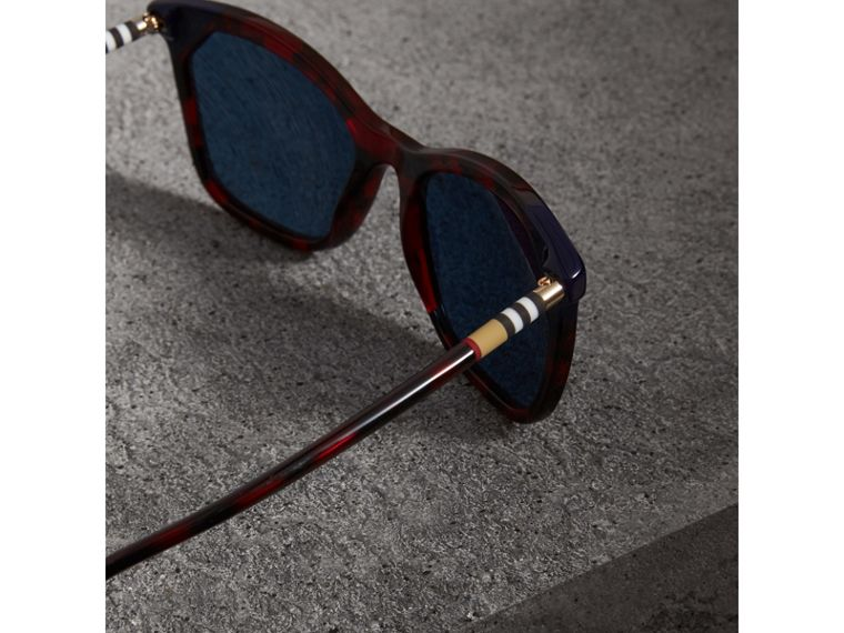 Tortoiseshell Square Frame Sunglasses in Red - Women | Burberry - cell image 1