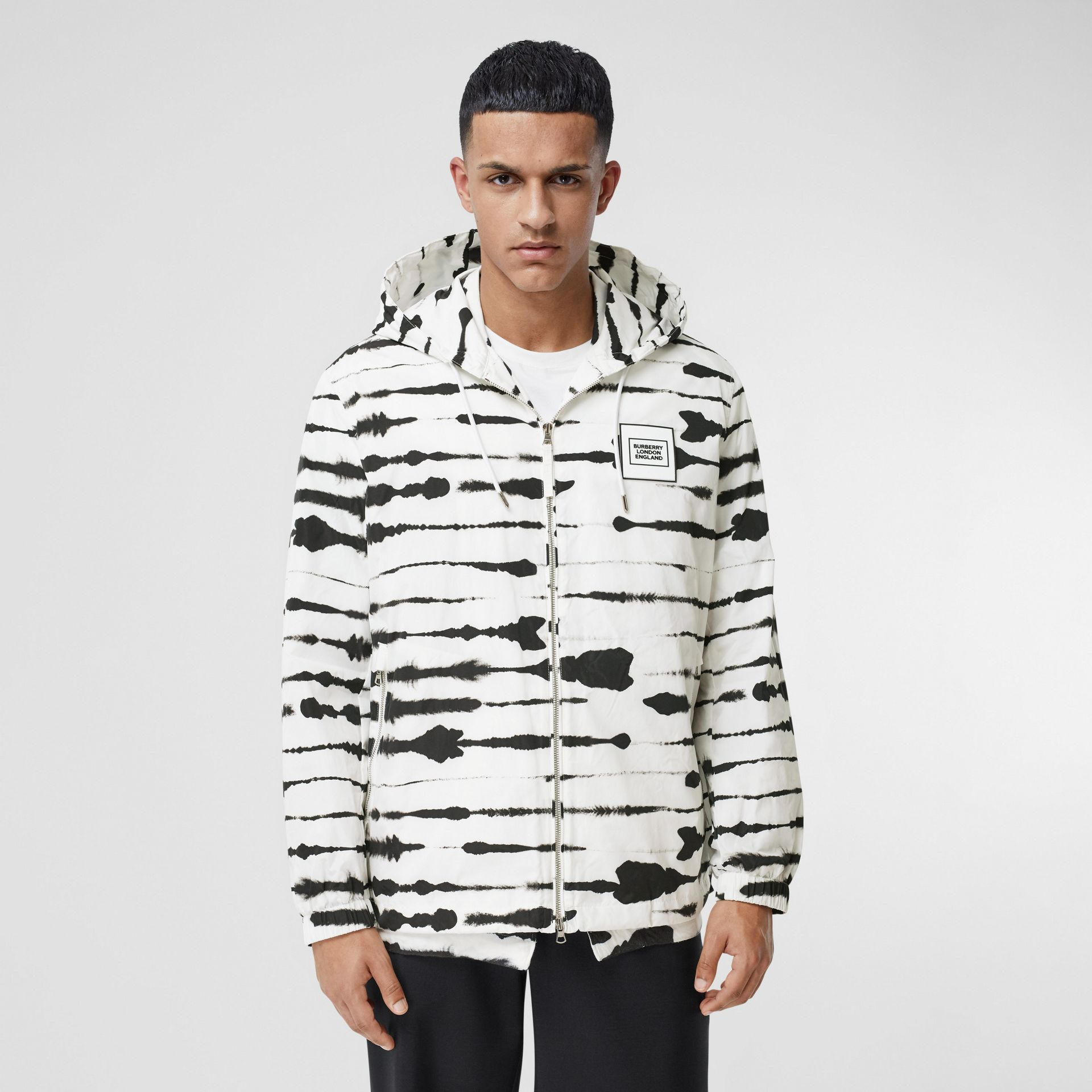 Logo Appliqué Watercolour Print Hooded Jacket in Monochrome - Men | Burberry - gallery image 0