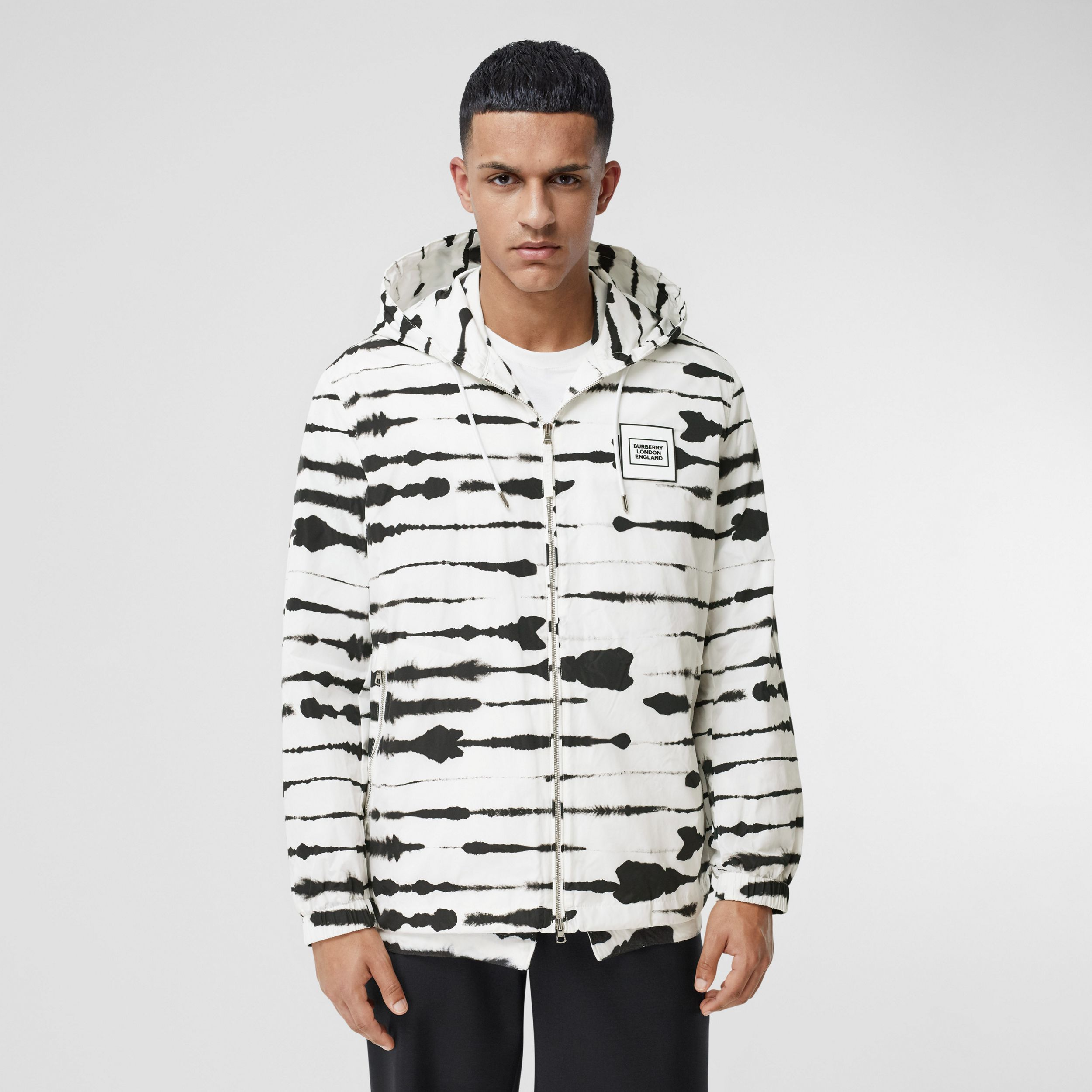 Logo Appliqué Watercolour Print Hooded Jacket in Monochrome - Men | Burberry Canada - 1