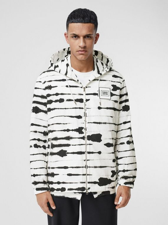 Logo Appliqué Watercolour Print Hooded Jacket in Monochrome