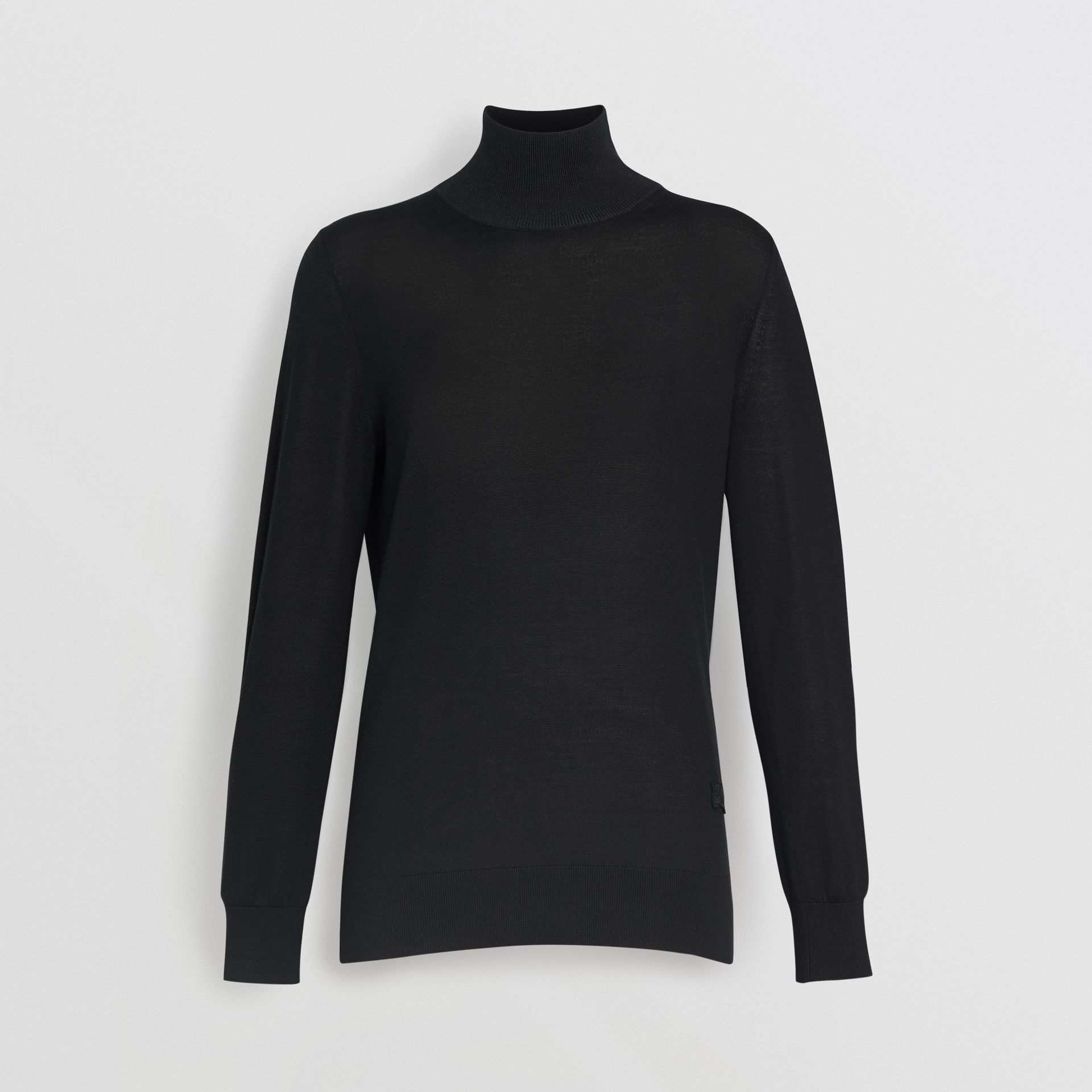 Silk Cashmere Roll-neck Sweater in Black - Women | Burberry - gallery image 3