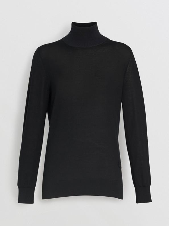 絲綢喀什米爾高摺領套頭衫 (黑色)