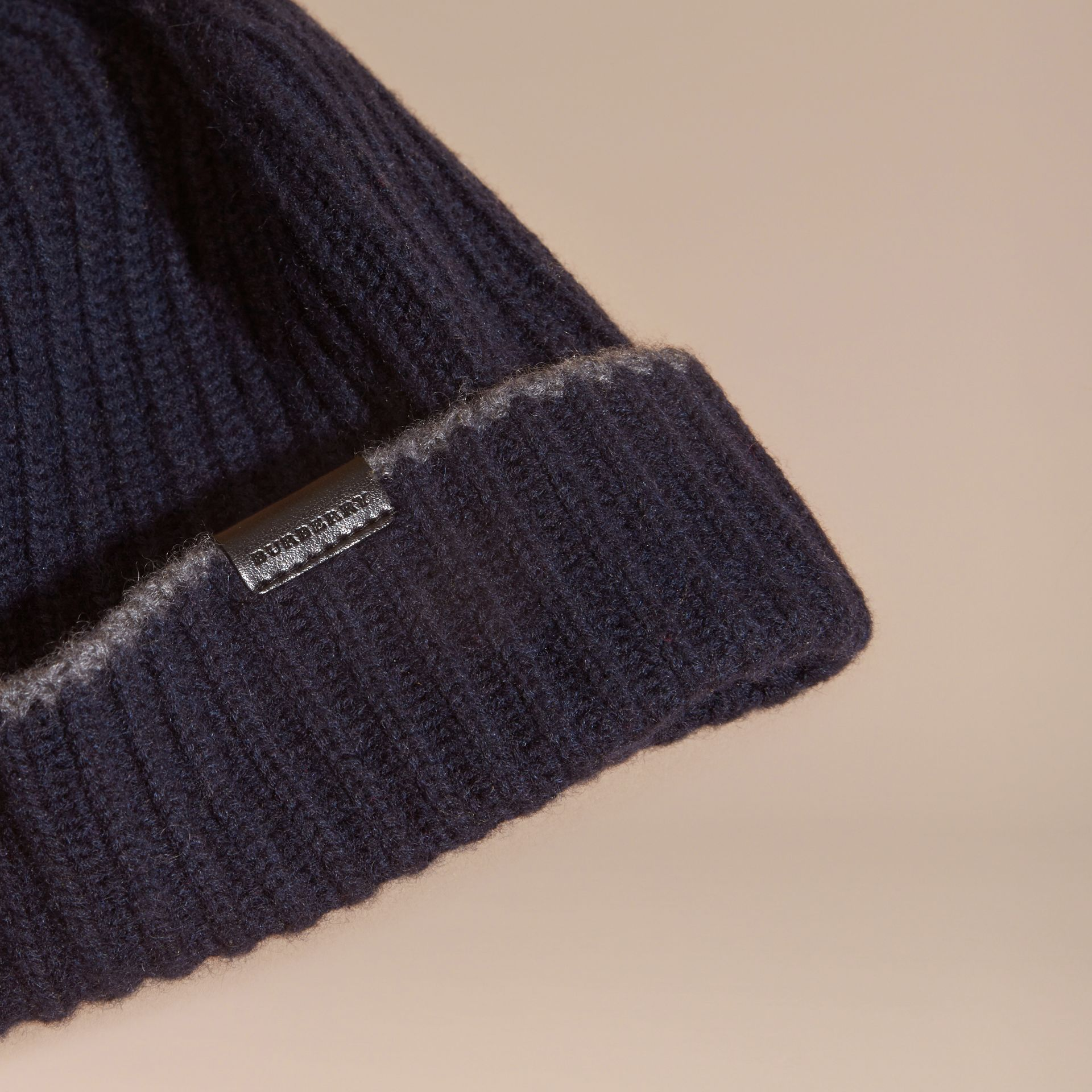Ribbed Cashmere Beanie with Border Detail in Navy/mid Grey - gallery image 3