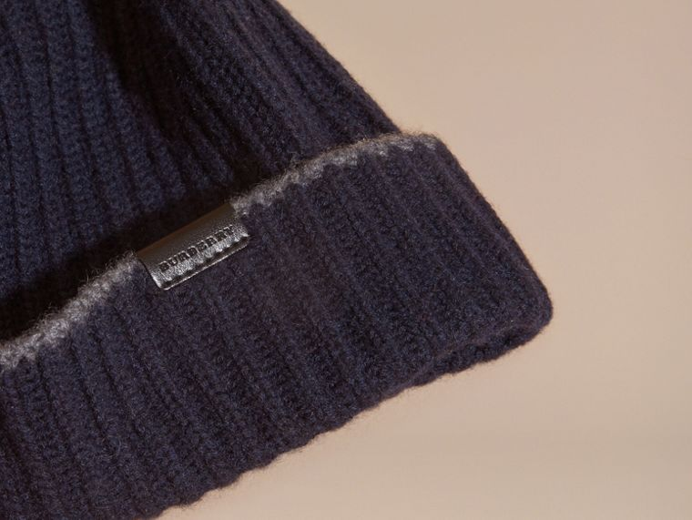 Ribbed Cashmere Beanie with Border Detail in Navy/mid Grey - cell image 2