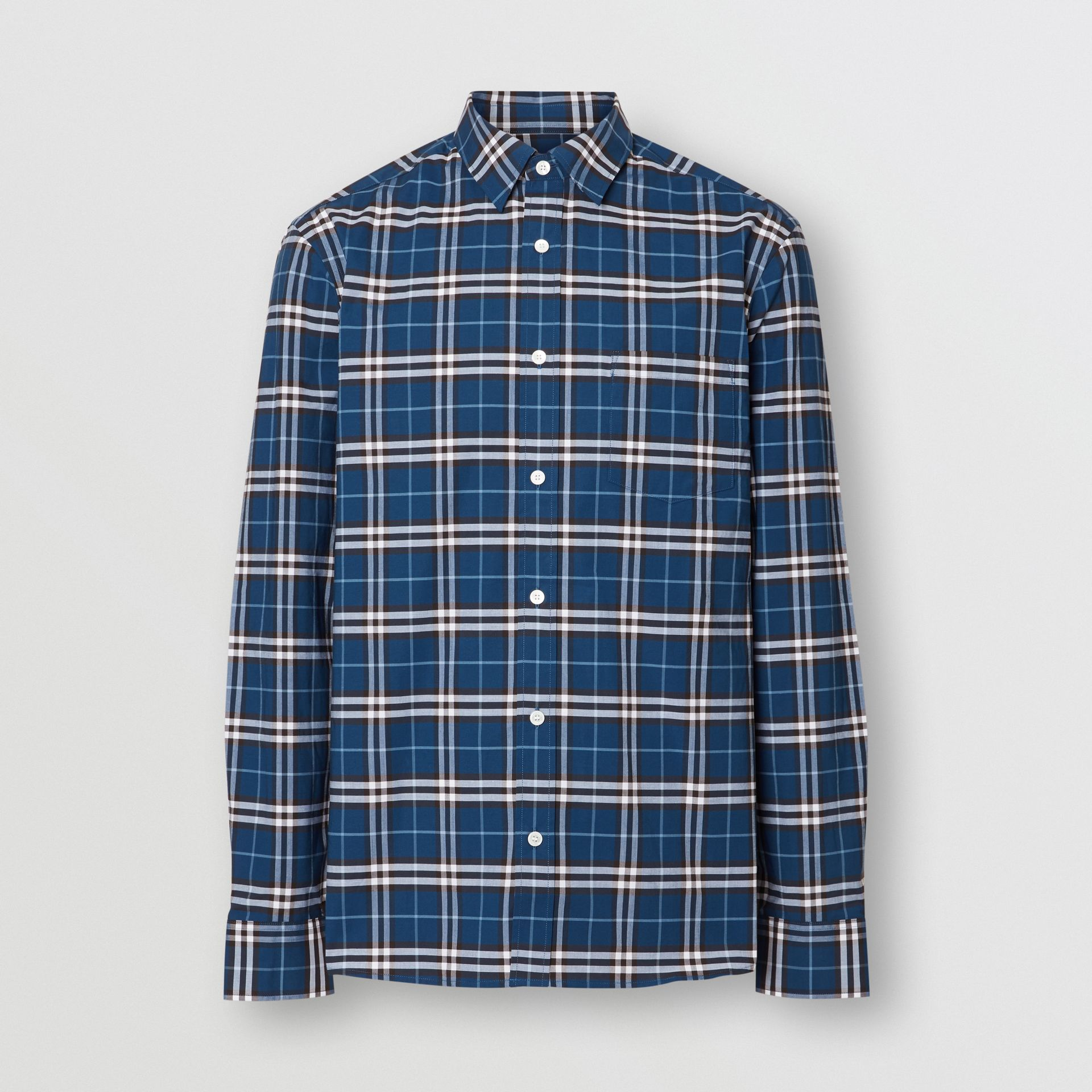Check Stretch Cotton Shirt in Steel Blue - Men | Burberry - gallery image 3