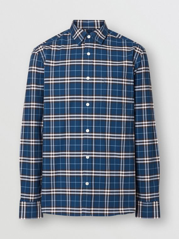 Check Stretch Cotton Shirt in Steel Blue