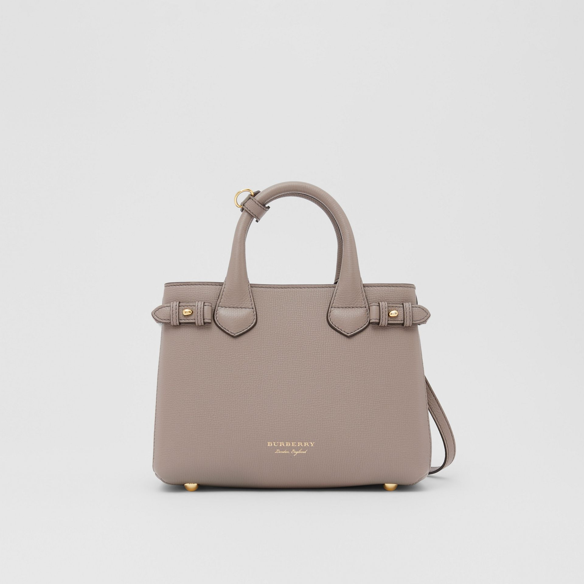 The Small Banner in Leather and House Check in Thistle Grey - Women   Burberry - gallery image 0