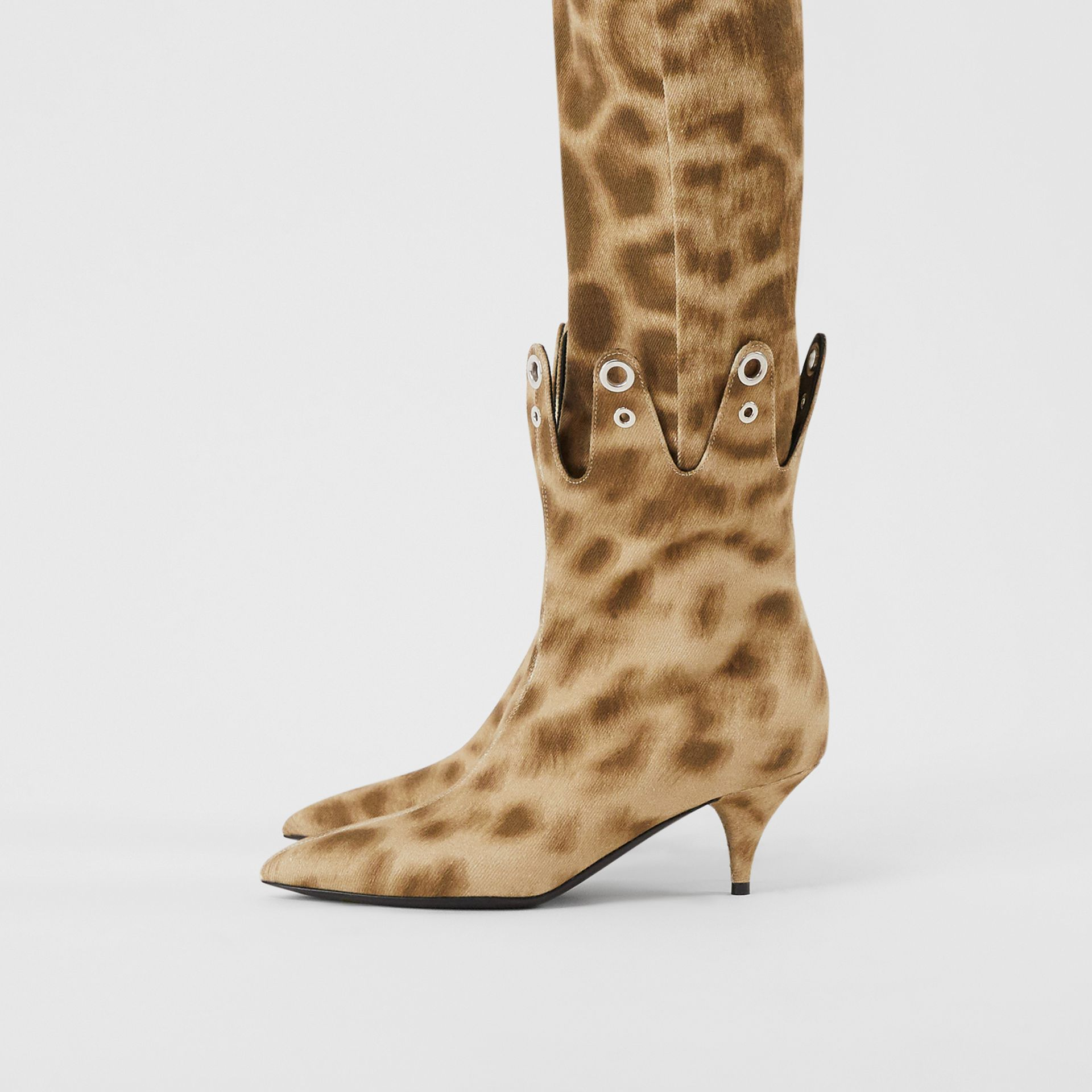 Eyelet Detail Leopard Print Ankle Boots - Women | Burberry - gallery image 2