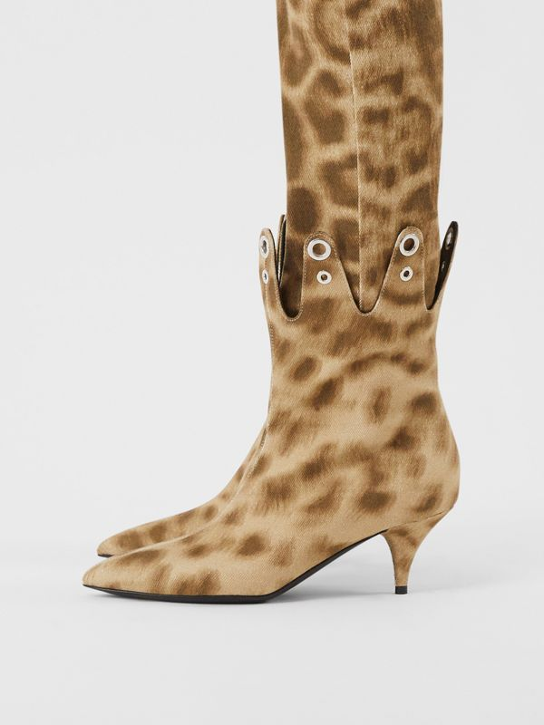 Eyelet Detail Leopard Print Ankle Boots - Women | Burberry - cell image 2