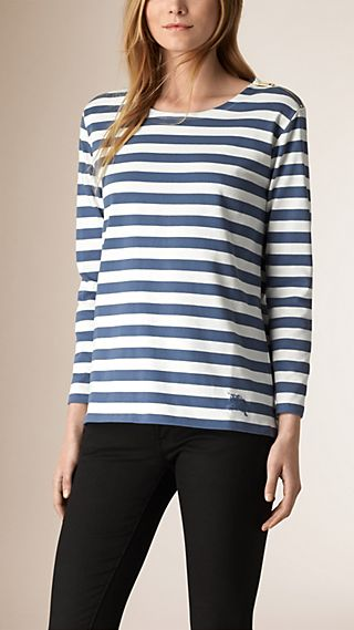 Long-sleeved Striped Cotton Top