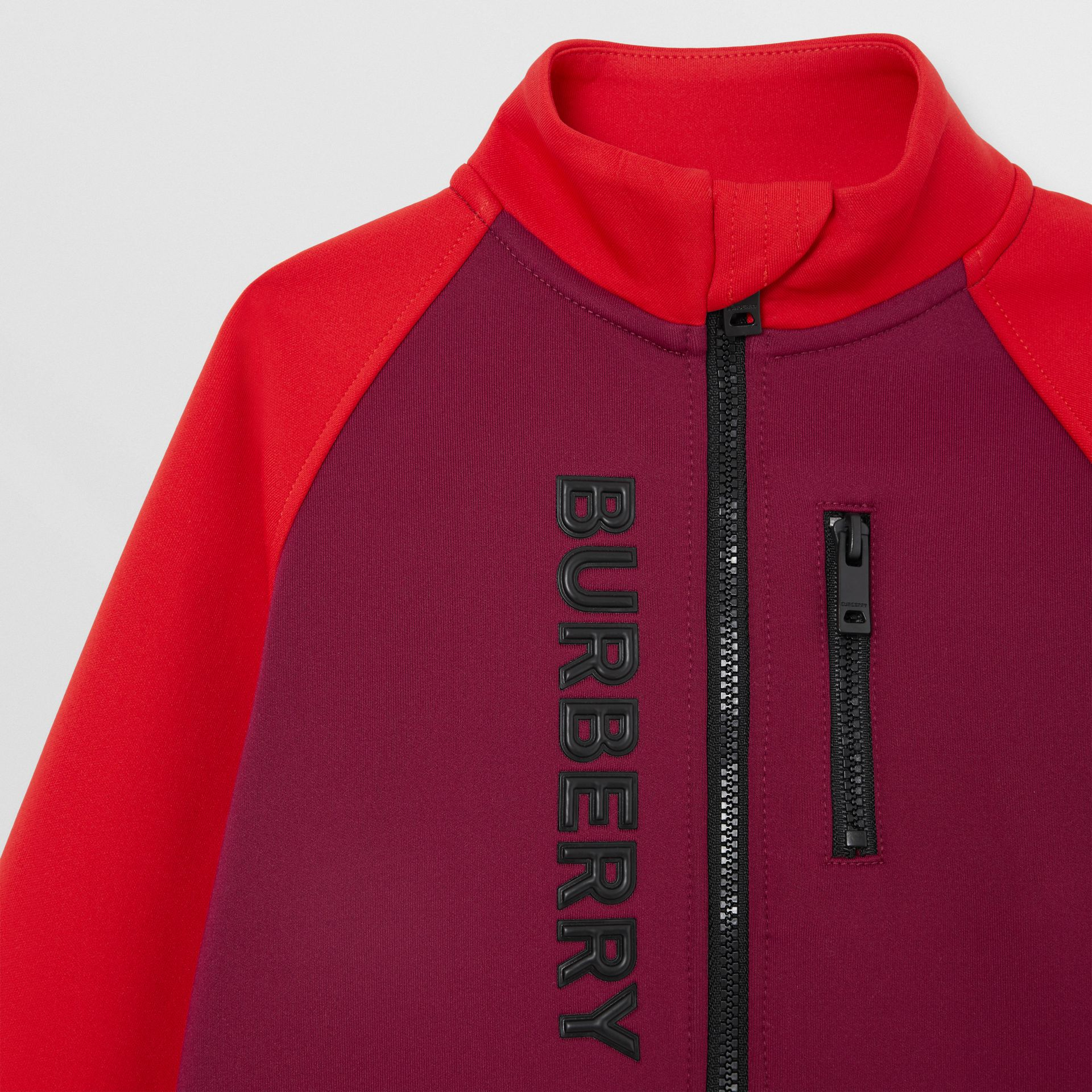 Logo Print Two-tone Stretch Jersey Track Top in Dark Burgundy - Children | Burberry - gallery image 4
