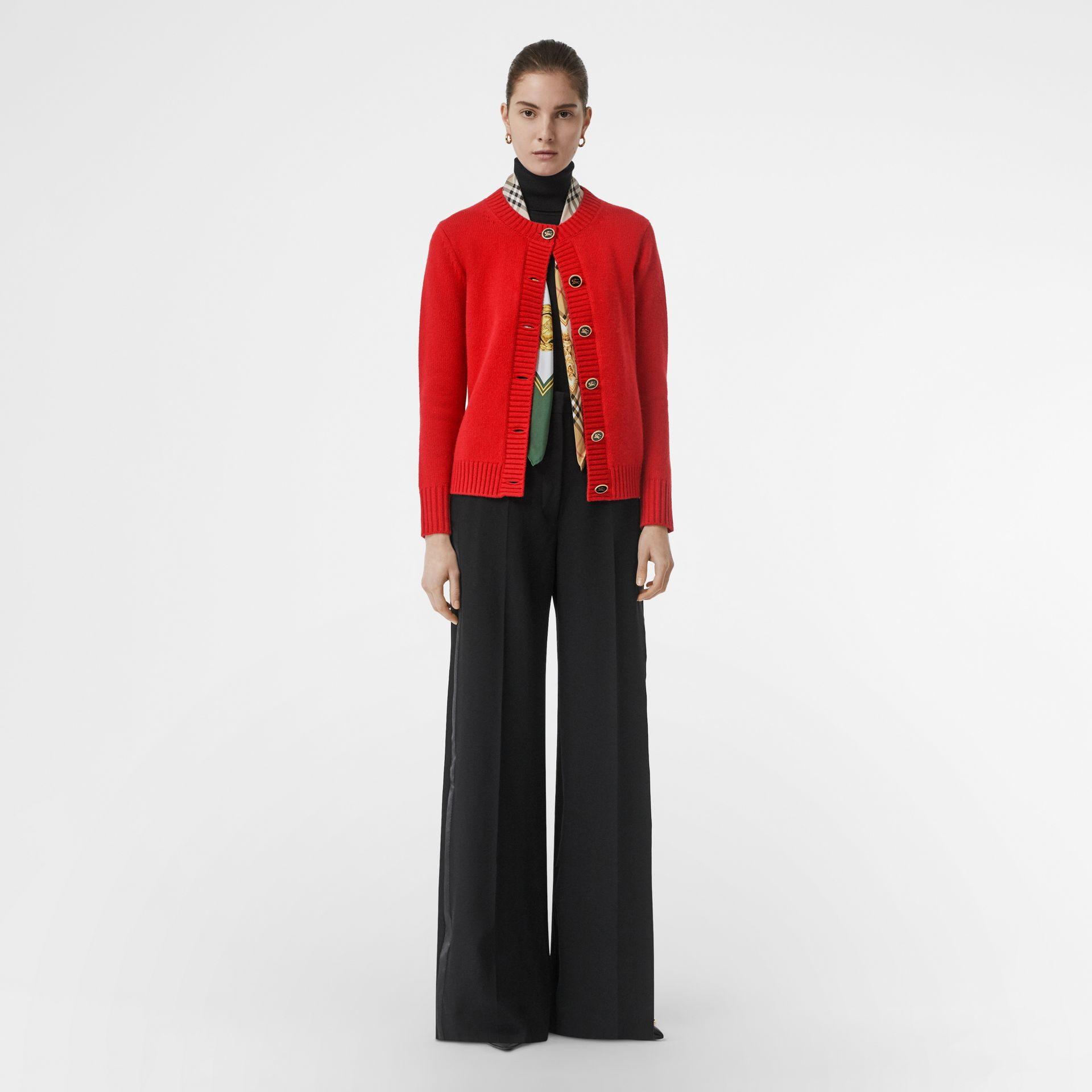 Logo Button Cashmere Crew Neck Cardigan in Bright Red - Women | Burberry - gallery image 0
