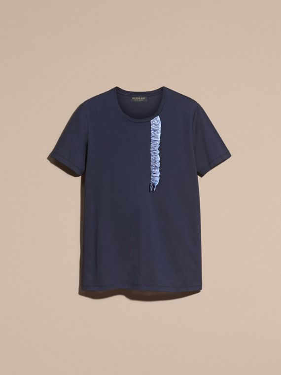 Ruffle Detail Cotton T-shirt in Navy - cell image 3