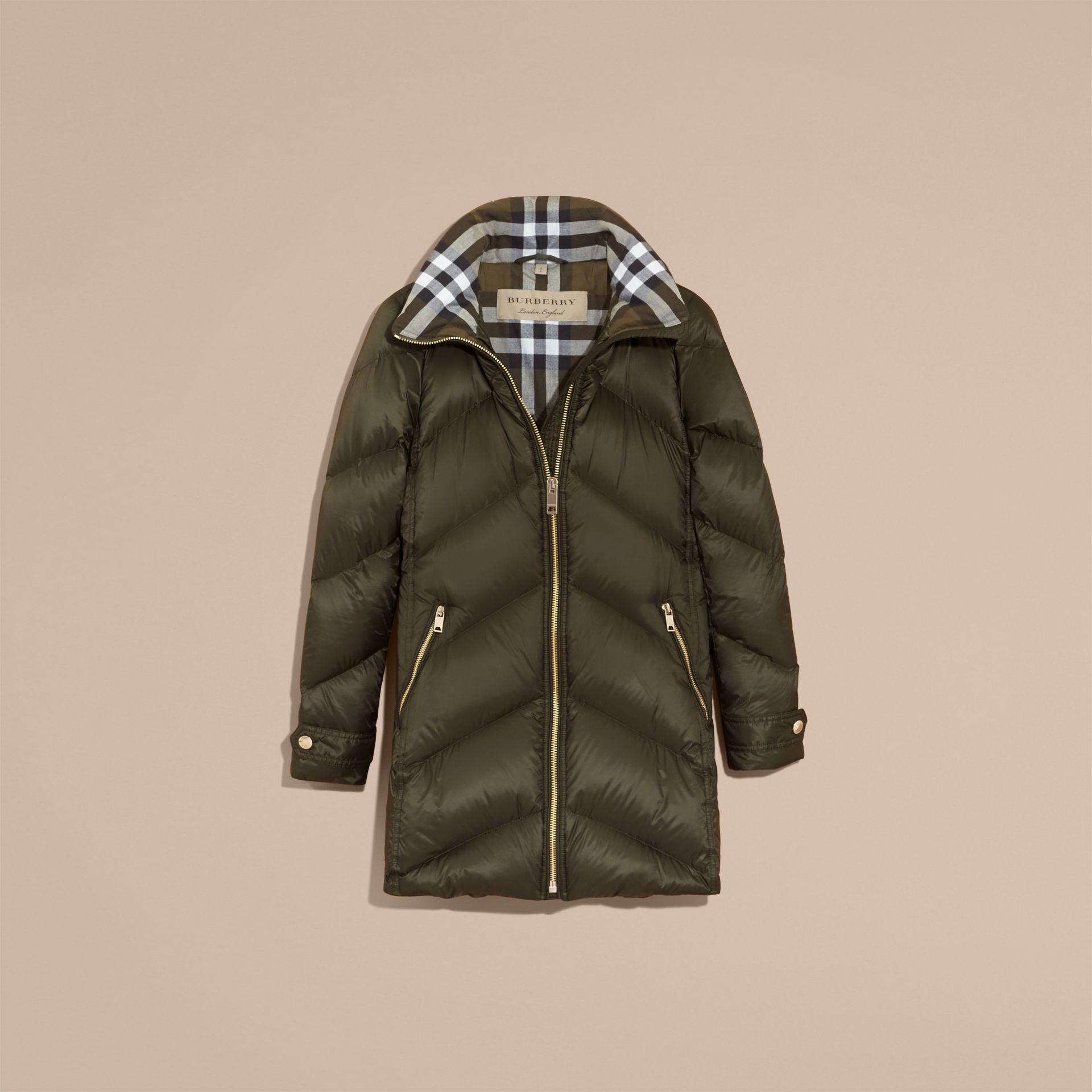 Chevron-quilted Down-filled Coat in Olive - Women | Burberry - gallery image 4