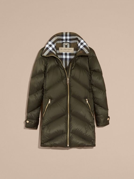 Chevron-quilted Down-filled Coat in Olive - Women | Burberry - cell image 3