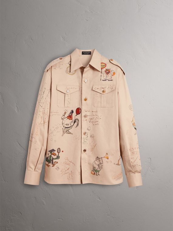 Sketch Print Cotton Army Shirt in Sand - Men | Burberry - cell image 3