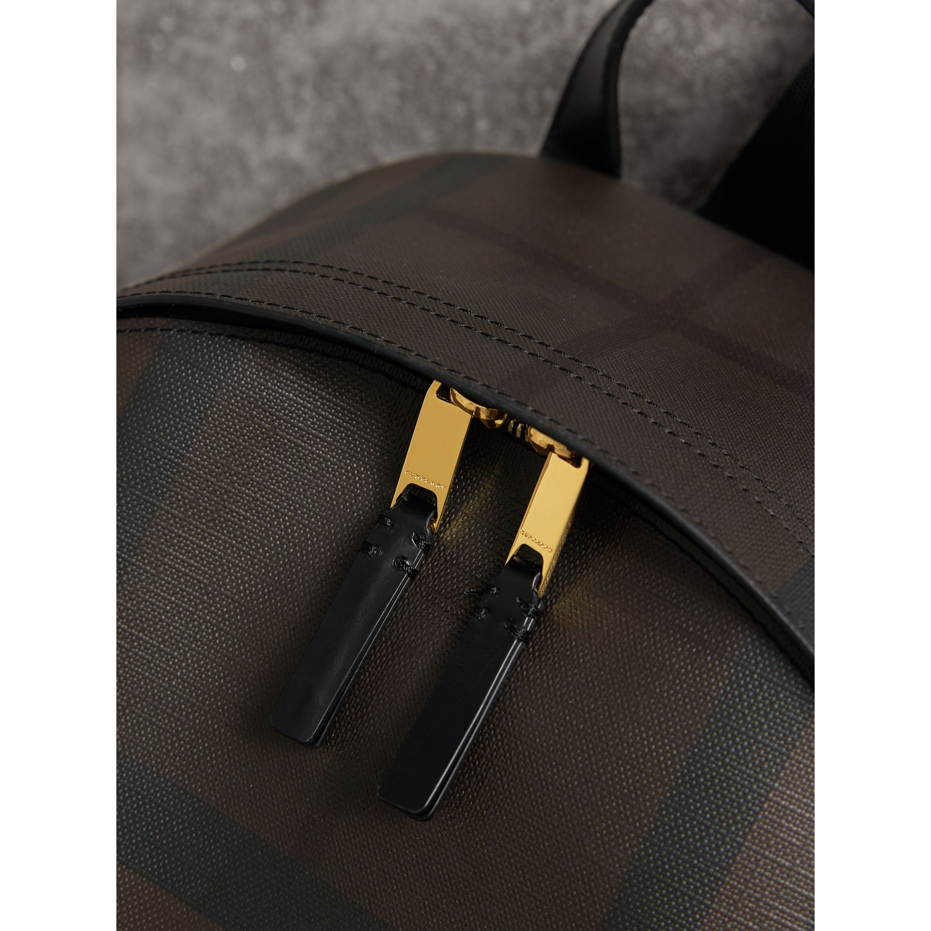 Leather Trim London Check Backpack in Chocolate/black - Men | Burberry - gallery image 2