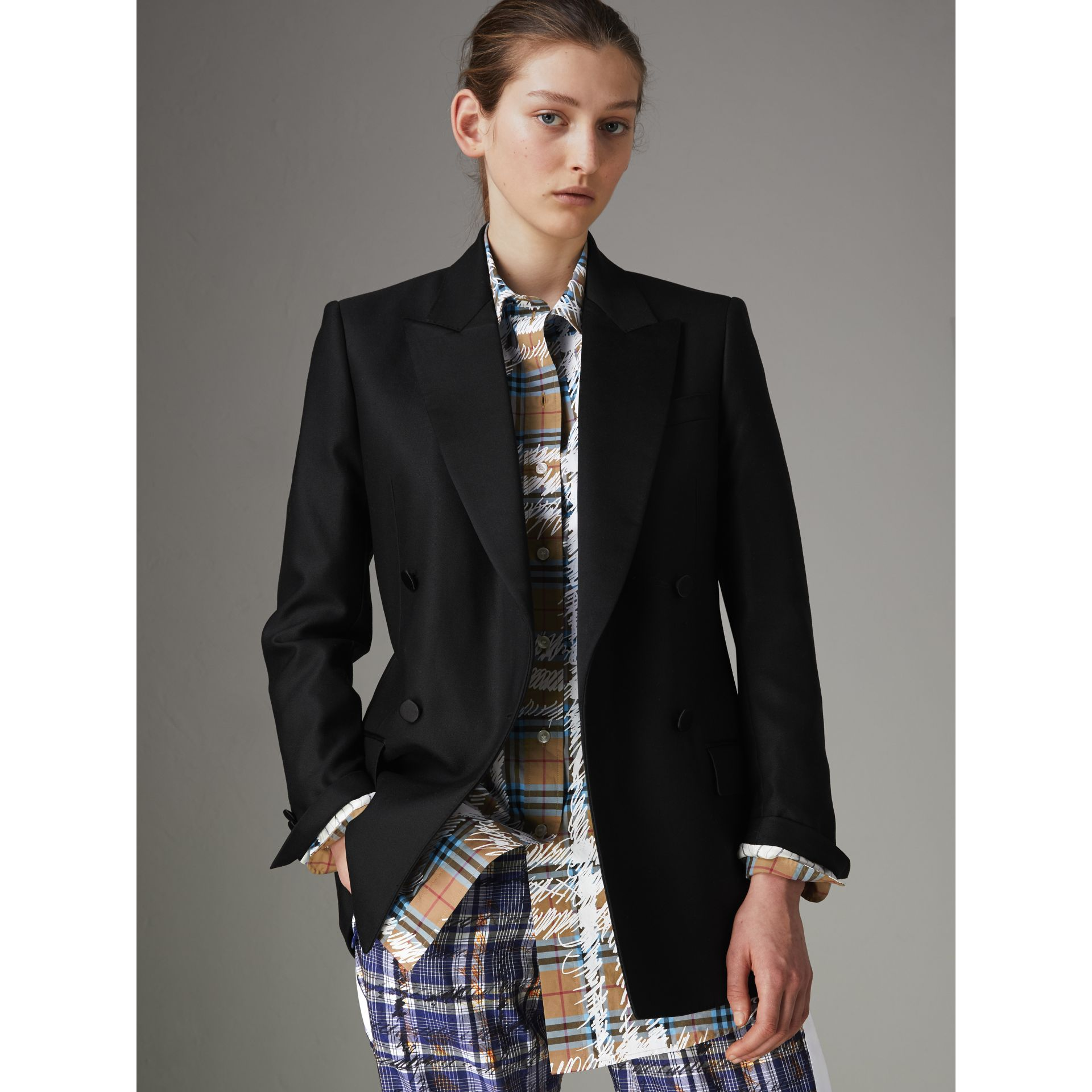 Wool Mohair Double-breasted Evening Jacket in Black - Women | Burberry Canada - gallery image 5