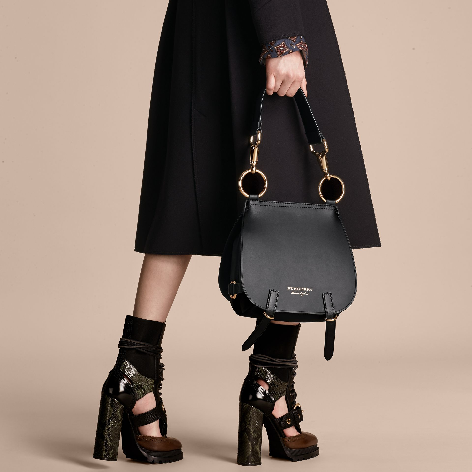 The Bridle Bag in Leather in Black - Women | Burberry - gallery image 3